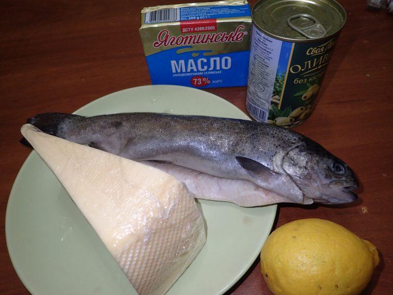 Ингредиенты для приготовления форели с сыром в духовке