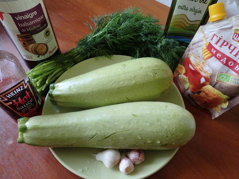 Ингредиенты для приготовления кабачков-гриль